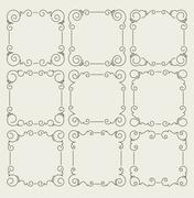 Set of 9 decorative text frames. Stock Illustration