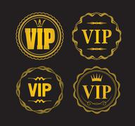 Set of 4 VIP designs isolated on black. Stock Illustration