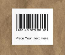 Barcode label on a dark packing paper - stock illustration