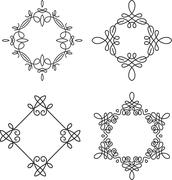Set of 4 calligraphical frames for monogram or other design Stock Illustration