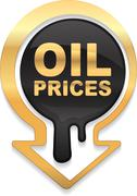 Oil prices golden design with down arrow showing a decline in oil prices - stock illustration