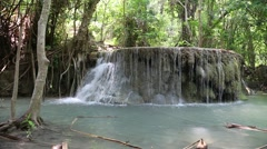Cascade of seven-tiered waterfall in Erawan National Park in western Thailand Stock Footage