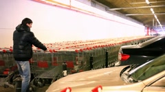 Man with shopping cart on parking of carts. HD. 1920x1080 Stock Footage