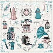 Vintage icons and design elements - stock illustration