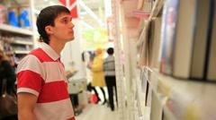 Male customer shopping  in bookshop. HD. 1920x1080 Stock Footage