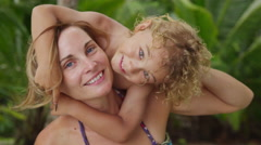 Portriat of mother and son on vacation Stock Footage