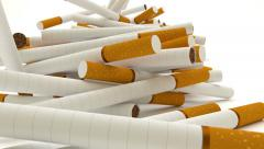 Animated falling new cigarettes against white background 5 Stock Footage