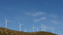 Wind farm and moon Stock Footage