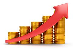 Gold coins bar graph with red arrow - stock illustration