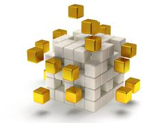 Cubes block. Assembling concept. On white. - stock illustration
