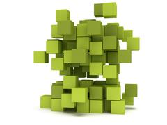 Stock Illustration of Explosion Cubes block. Assembling concept.