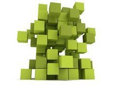 Explosion Cubes block. Assembling concept. - stock illustration