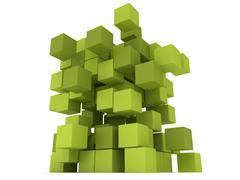 Explosion Cubes block. Assembling concept. - stock illustration