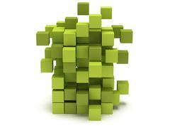 Explosion Cubes block. Assembling concept. Stock Illustration