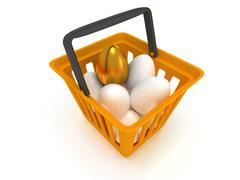Golden egg among white eggs in shopping basket - stock illustration