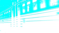 Train moves to the right along the rails. Turquoise. - stock footage