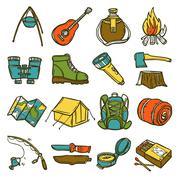 Camping Icon Set - stock illustration