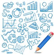 Charts And Diagrams Sketch Stock Illustration