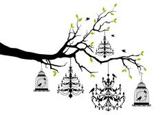 Tree with chandelier and birdcage, vector Stock Illustration