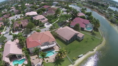Waterfront homes aerial view - stock footage