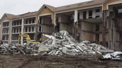 Stock Video Footage of Tearing Down Building