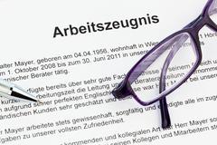 work certificate in german language - stock photo