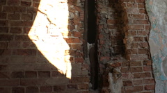 Ruins and debris of the old brick house. Stock Footage