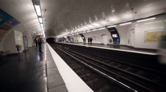 Train metro Paris France Stock Footage