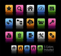 FTP & Hosting Icons // Color Box - stock illustration