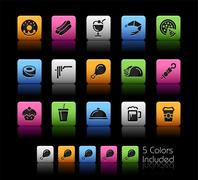 Food Icons // Color Box - stock illustration