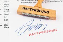 Wood stamp on the document: habeas corpus Stock Photos