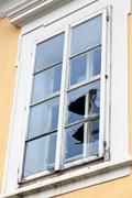 broken window pane - stock photo