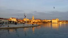 4K, Mediterranean coastal town at sunset - stock footage