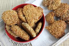 Oat biscuits with the addition of sesame, sunflower and amaranth. - stock photo