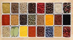Herbs and spices in rectangular ceramic containers. - stock photo