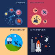 Space Icons Flat - stock illustration