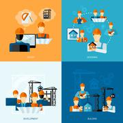 Engineer Flat Set Stock Illustration