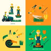Lawn Flat Set - stock illustration
