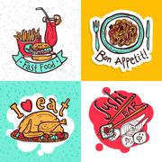 Restaurant concept icons composition design - stock illustration