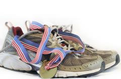 running shoe horizontal view - stock photo