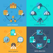 Big data 4 flat icons composition Piirros