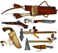 set of weapons American indian - stock illustration