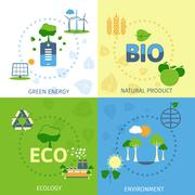 Stock Illustration of Ecology 4 flat icons composition