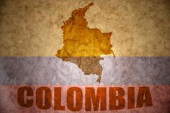 vintage colombia map - stock photo
