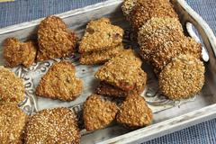 Oat biscuits with the addition of sesame, sunflower and amaranth. Stock Photos