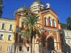 New Aphon monastery. Orthodox church. Abkhazia republic Stock Photos