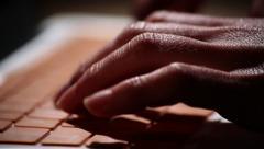 Orange Mac laptop close up typing 7 - stock footage