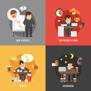 Stress at work flat icons composition Stock Illustration