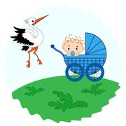 Baby boy in a and stork beside him - stock illustration