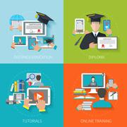 Online Education Flat Stock Illustration
